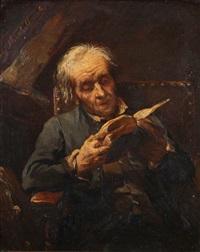 vieil homme lisant sous une lucarne by alexandre markelbach