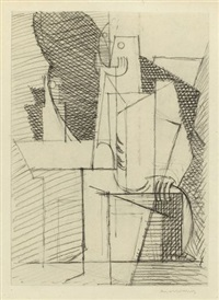 personage accoudé à un guéridon by louis marcoussis