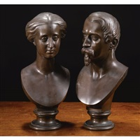 portrait bust of napoleon iii, emperor of france (+ portrait bust of eugenie, empress; pair) by alfred-emile o'hara nieuwerkerke