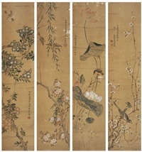 四季花鸟 (birds and flowers in four seasons) (4 works) by xiang baoai