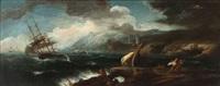 naufrage près d'un rocher by johannes (jan) glauber