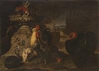 gallo, tacchino, conigli ed un pappagallo in un paesaggio by david de coninck