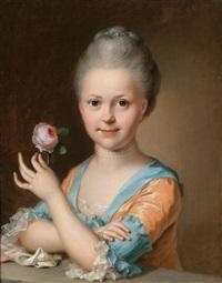 bildnis eines jungen mädchens mit einer rose by johann heinrich tischbein the elder