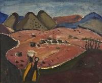 landscape with figures by pranas domsaitis
