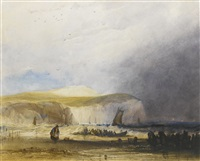 a squall approaching the northern french coast; together with fishing boats at sunset off a harbour (2 works) by charles bentley