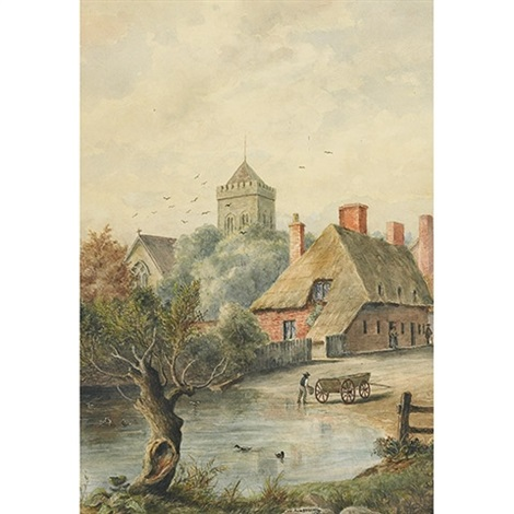 a village scene by william wallace armstrong