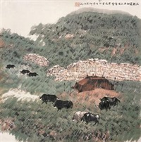 鸟鞘岭细雨 (landscape) by ji xuejin