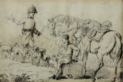 zwei reiter mit pferden und hunden by edouard swebach