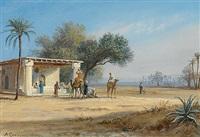 kleine karawane in einer oase by anton goering