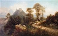 paisaje montañoso con personajes by luis rigalt