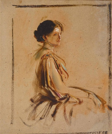 damenbildnis study by franz seraph von lenbach