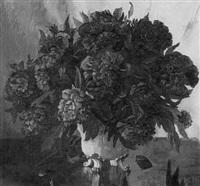 stilleben mit pfingstrosenstrauß by arnold baur