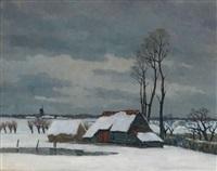 paysage hivernal avec grange by karel van lerberghe