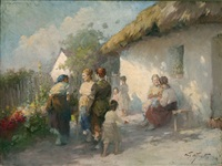 people gathered outside a thatched cottage by acs agoston