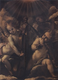 three music-making angels in an aureole of light by antonio mondini