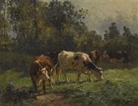 rinder auf der weide by aymar (aimard alexandre) pezant
