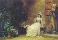 den nysgerrige fader. blomstrende gårdesterior med siddende kvinde, der betragter et billede by markus frederik steen gronvold