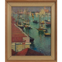 boats in harbor by dixie selden