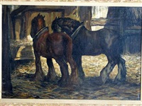 two shire horses by anton lock