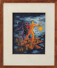 un projet de tapisserie représentant une allégorie du jour et de la nuit by charles alexandre picart le doux