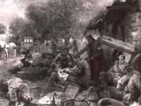 tsterreichisch-ungarischer verbandsplatz mit russischen verwundeten by rudolf august hoeger