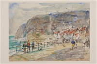 figures before cottages in staithes by rowland henry hill