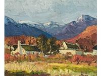 homesteads in a mountain landscape by piet (pieter gerhardus) van heerden