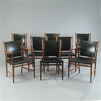 six dining chairs and two armchairs (set of 8) by jacob kjaer and rigmor andersen
