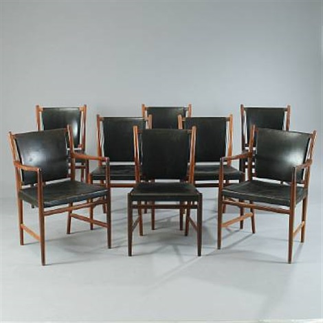 six dining chairs and two armchairs set of 8 by jacob kjaer and rigmor andersen