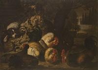 cane e volatili in un paesaggio by david de coninck