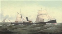 "the steamer ""heriri"" in mediterranean waters by c. kensington"