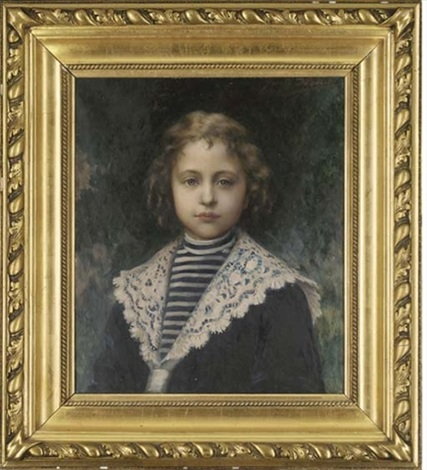 portrait of a young girl bust length in a sailors outfit by jules charles aviat