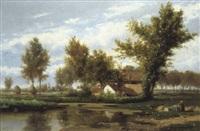 rivierlandschap met hoeve by félix de baerdemaeker