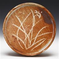 shino iris design bowl by kitaoji rosanjin