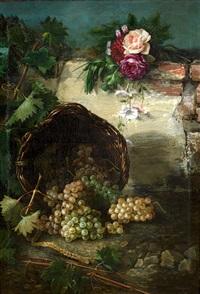 bodegón con rosas y cesto de uvas by joaquina aragonés de mendiola