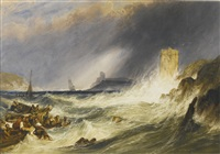 the rescue at fowey harbour, cornwall; together with low tide (2 works) by charles bentley