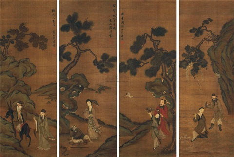 八仙图 eight immortals set of 4 by zhou xun