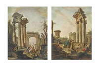 a capriccio of architectural ruins, with classical figures before a philosopher preaching; a capriccio of classical ruins with figures (pair) by giovanni paolo panini