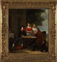 gesellschaft beim damespiel by hendrik breukelaar