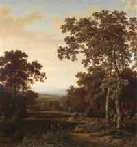 eine bewaldete landschaft, rechts im vordergrund zwei hohe laubbäume, dahinter eine reiterin und berittene jäger by joris van der haagen