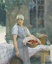 bauernmädchen mit früchtekorb vor gedecktem tisch by stephane leroy