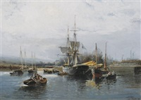 sailing ships in a harbour by pierre dulhoya