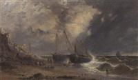 Fishermen pulling Rye trawlers up the..., 1858–1858