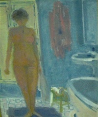 naked woman in bathroom by bernard piga