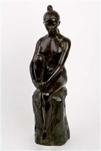 joven desnuda sentada by hernandez santiago de santiago