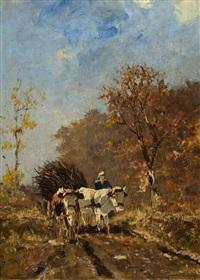 bauer mit ochsenwagen in herbstlicher landschaft by richard von poschinger