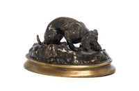 a french bronze animalier figure depicting a dog on an oval base by jules moigniez