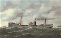 "the french coaster ""le perrey"" outward-bound from le havre by victor charles edouard adam"
