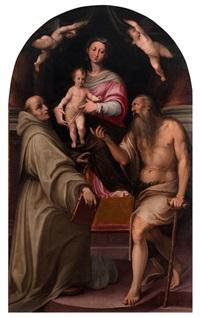 thronende madonna mit kind, heiligem bernhard und paulus eremita by agostino carracci