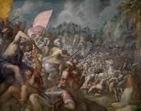 reiterschlacht mit kampfelefanten vor einer befestigungsanlage (möglicherweise eine darstellung der alexanderschlacht) by gillis van valckenborch
